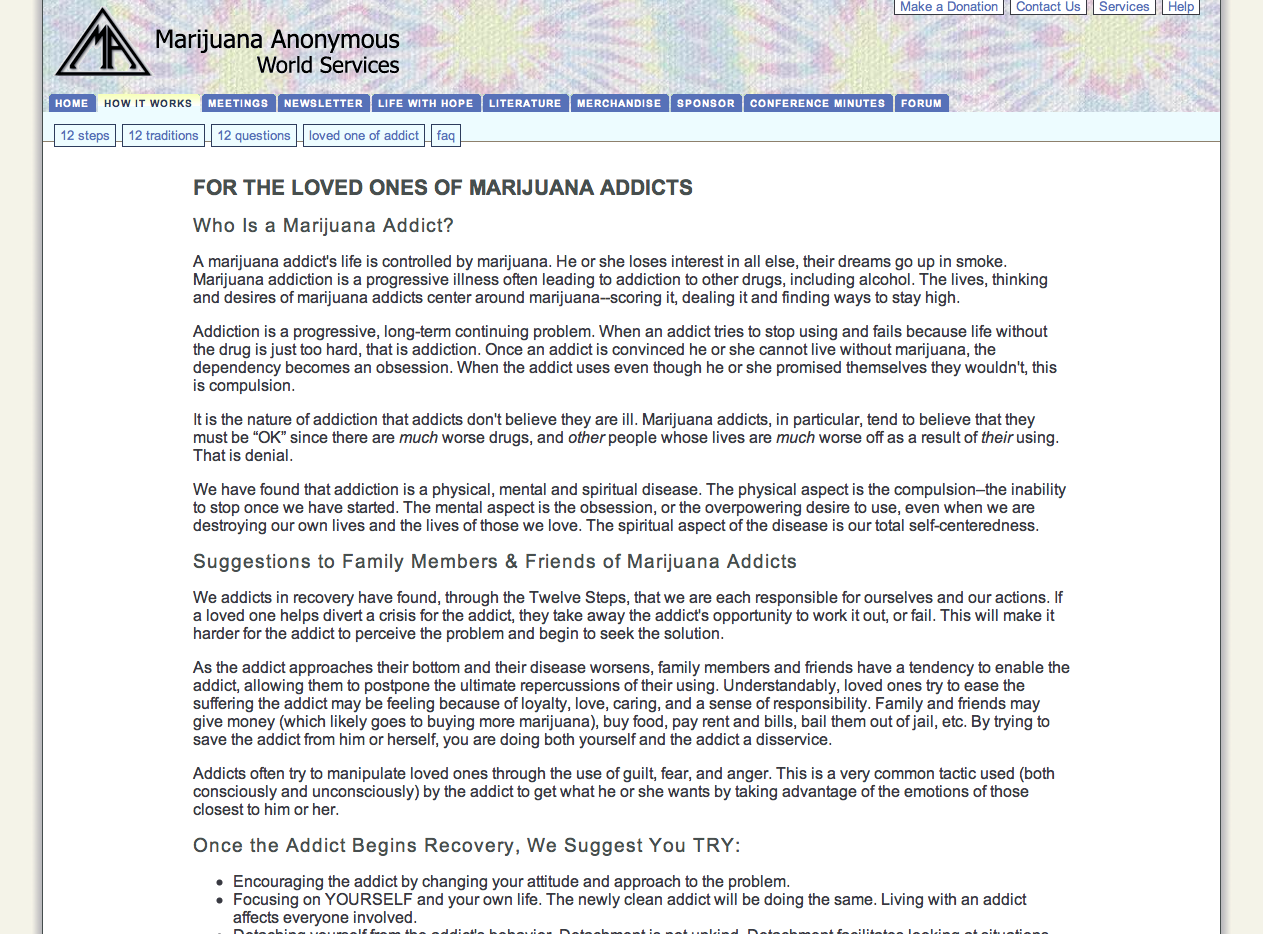 Screenshot of Marijuana Anonymous World Services web site
